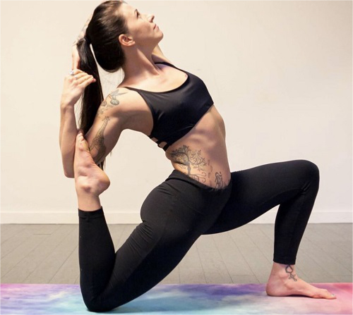 woman doing hand stand
