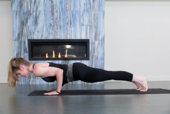 woman doing push-up pose